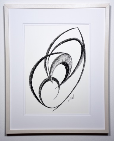 "Linked Arcs 20"" x 16""(with frame) India ink ©2016"